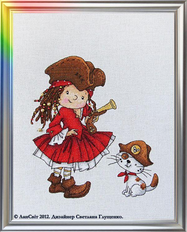 Lansvit - With us, you never get bored! Pirate cross stitch using Kreinik metallics