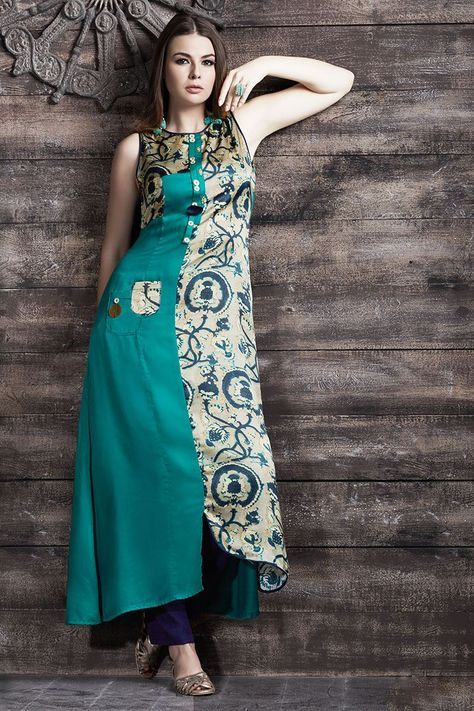 Picture of Appealing beige & green glossy kurti