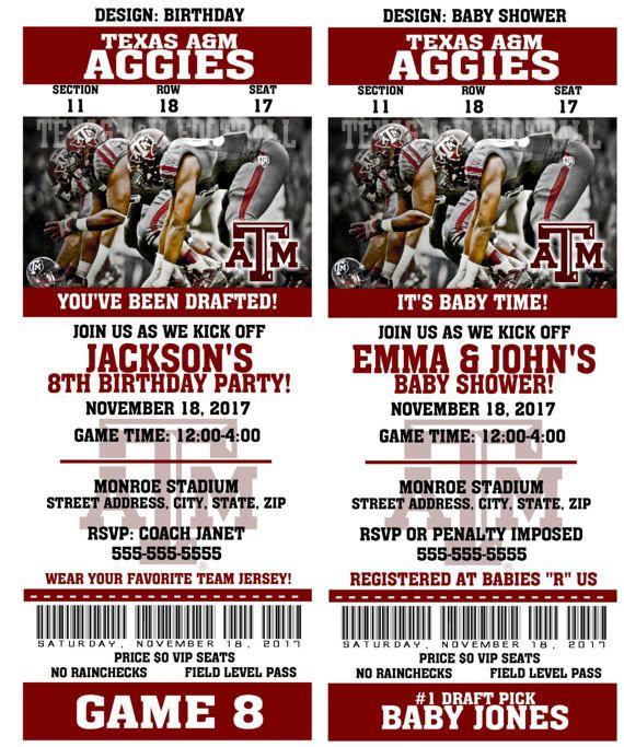 Printable Texas A & M Aggies College Football Birthday Party