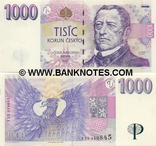 Czech Republic 1000 Korun 1996  Obverse: Tree with exposed roots; Czech historian and politician František Palacký; Reverse: Eagle; old building; Watermark: Portrait of František Palacký.