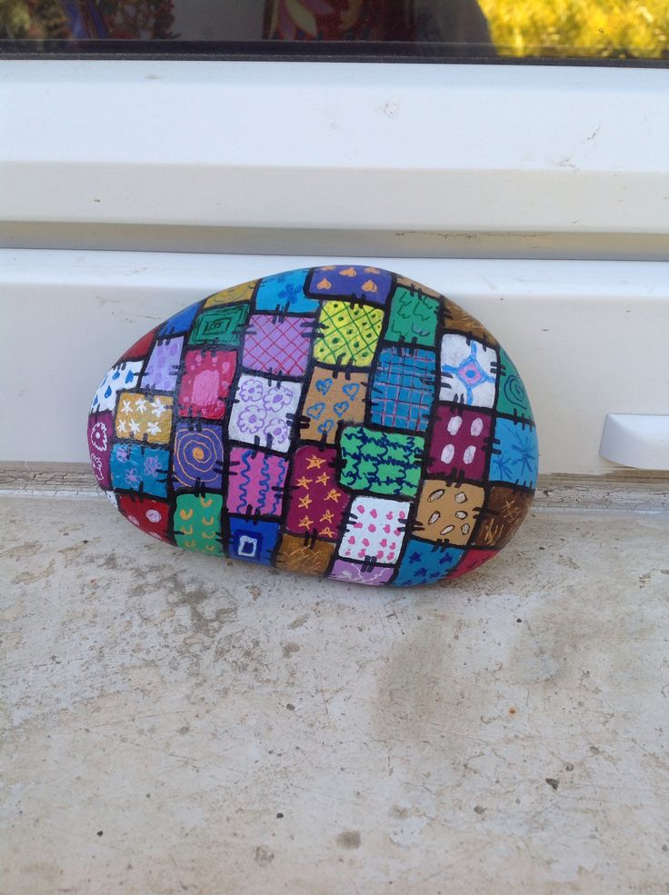 Quilt rock, you paint a section and hide, now the person that finds, paints a section and so on
