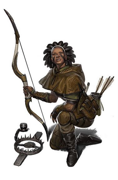 Female ranger with recurve bow, bear trap, good sensible clothes and dreadlocks #poc #representationmatters