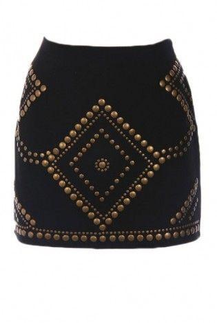 black studded skirt #studs #embellished