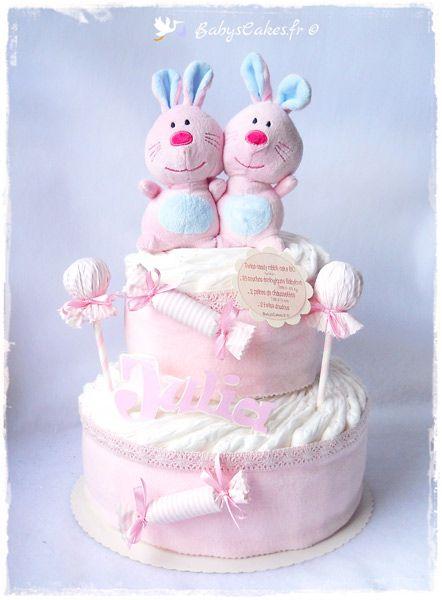 Gâteau de couches twins doudou - Cadeau de naissance personnalisé