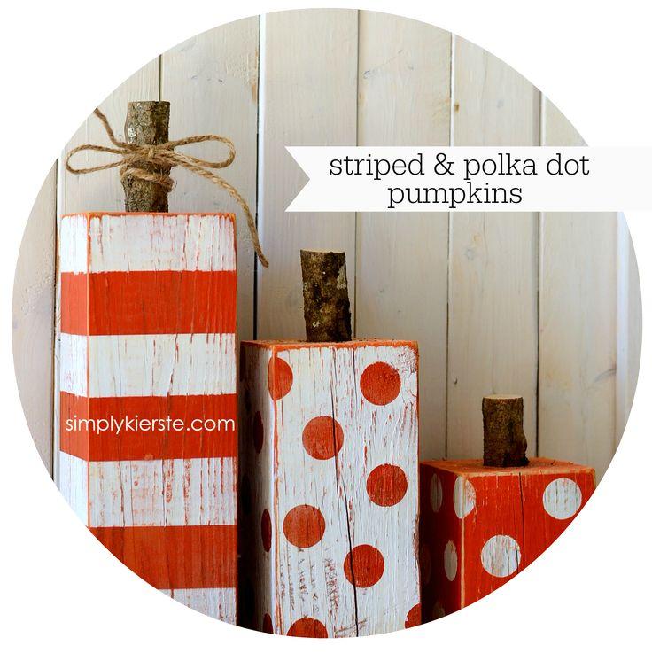 4x4 Post Striped & Polka Dot Pumpkins