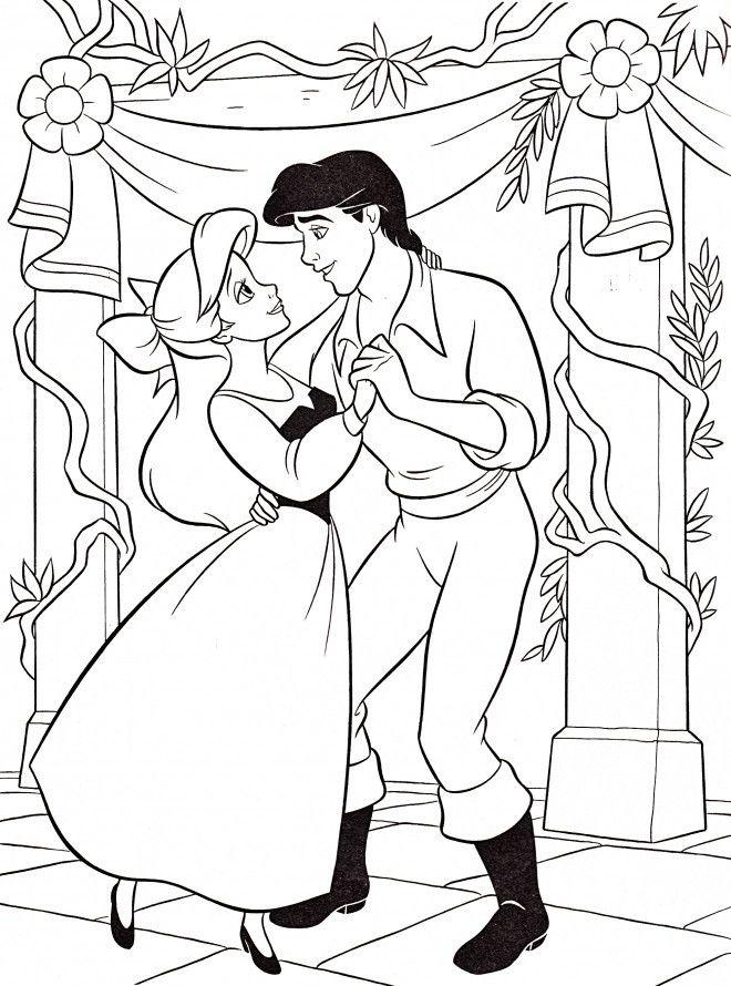 Coloriage Ariel Et Eric.Coloriage Princesse Ariel Avec Prince Eric Dessin Gratuit Imprimer