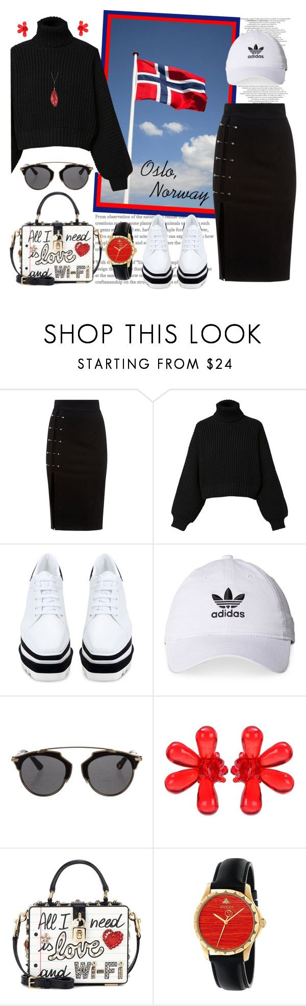 """A Walking Tour of Oslo ..."" by krusie ❤ liked on Polyvore featuring Diesel, STELLA McCARTNEY, adidas, Christian Dior, Simone Rocha, Dolce&Gabbana and Gucci"