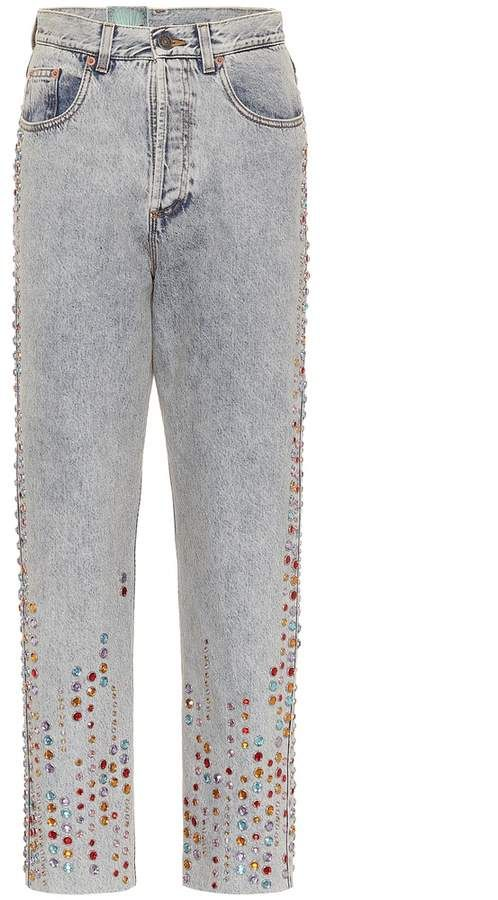 12912b3efeaac Gucci Crystal-embellished jeans Revitalize your denim edit with Gucci s  dazzling crystal embellished jeans. material  100% cotton~trim  100% calf  ...
