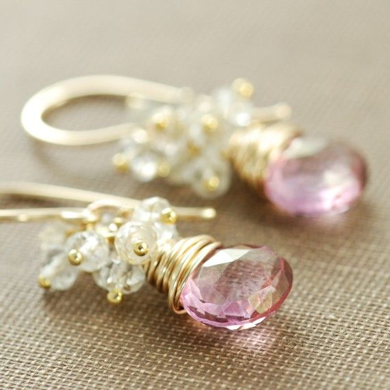 Pink Quartz Earrings 14k Gold Fill with Topaz Clusters, Bridal Jewelry, dangle