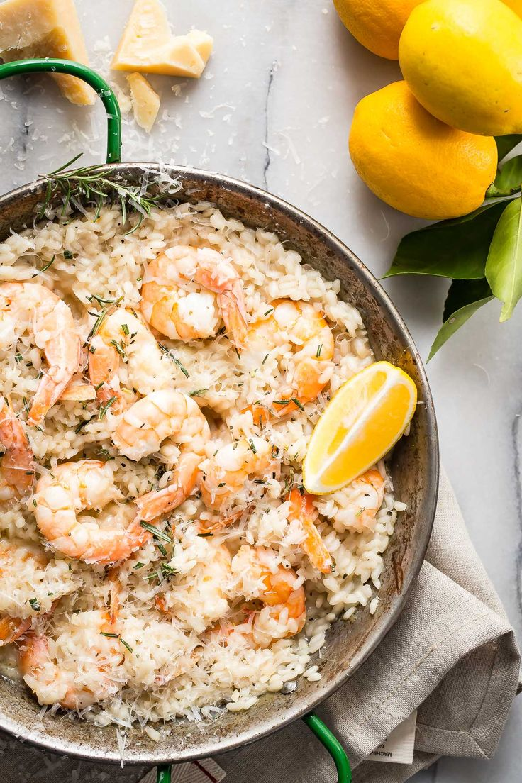 Creamy lemon shrimp risotto: INGREDIENTS 1 pound large uncooked shrimp deveined with no shells or tails 2 garlic cloves minced Juice of 1 large lemon or 2 small lemons 4-5 cups chicken stock 6 tablespoons olive oil divided ½ cup finely diced shallot ¾ cup dry white wine 1½ cups arborio rice Zest from two lemons Fresh Parmesan Cheese Fresh chopped rosemary