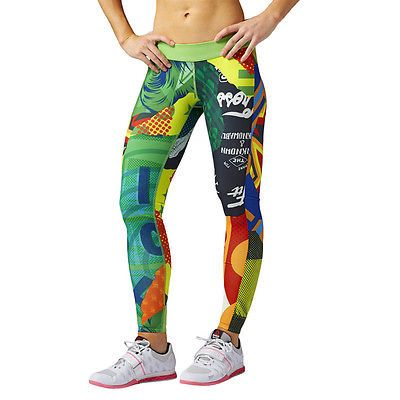 Womens Training Leggings Reebok CrossFit Chase MixUp Tight Wicking Fitness Yoga