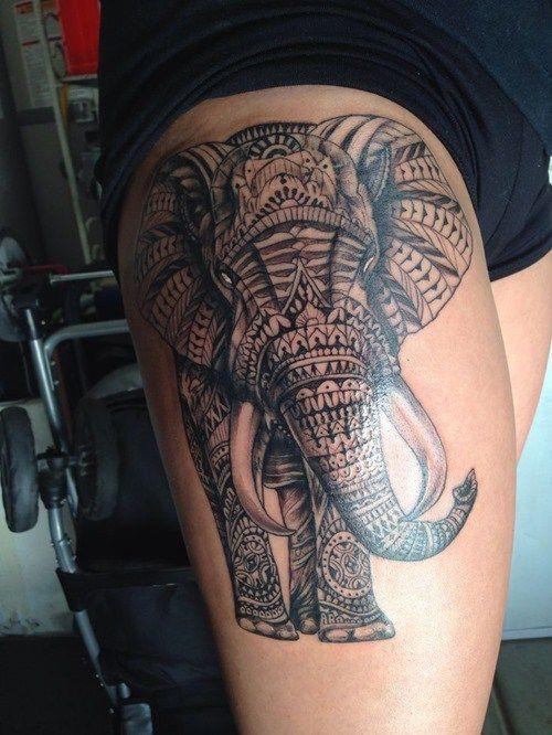 tribal thigh elephant tattoo