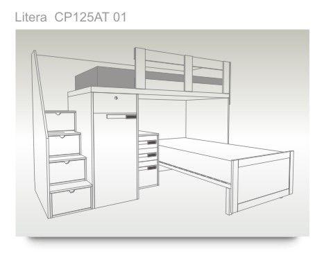 Litera de dos camas, con escalones, armario y mesita de noche