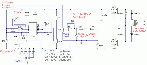 Function Generator - circuit diagrams, schematics, electronic projects