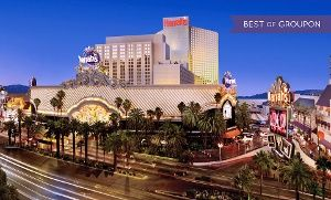 Centrally located on the Vegas strip, the hotel features a casino, six restaurants, an outdoor pool, and several bars