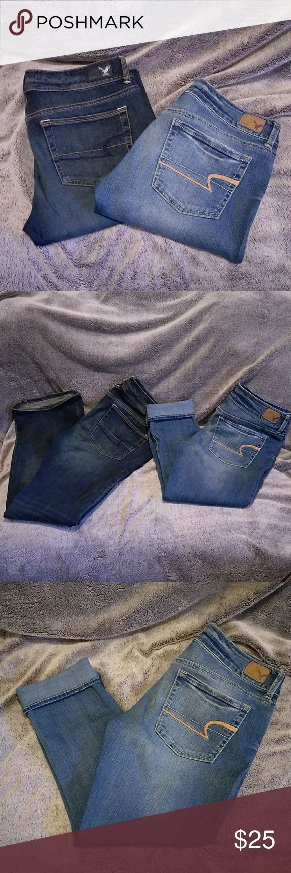 🌼American Eagle Denim Bundle🌼 EUC, dark is a super stretch 'Kick Boot' style size 8 Regular, light color 'Artist Crop' size 8. Pretty loved but have plenty of life left. Washed inside out and always hang dry. Great denim just can't fit anymore! American Eagle Outfitters Jeans