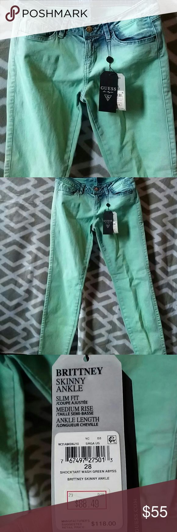 FLASH SALE! NWT Guess Skinny Jeans Originally $118 NWT Guess Teal Skinny Jeans, beautiful teal ombre colors. High quality, beautiful pair of unique skinny jeans! Guess Pants