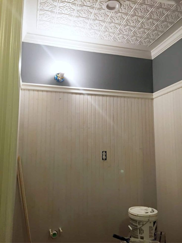 How to Install Beadboard Paneling in a Half Bathroom ...