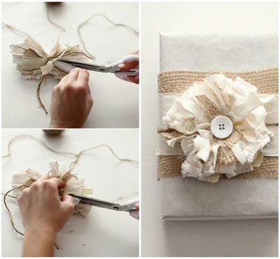 Has the how to's for the neutral gift wrapping - I am suddenly so into burlap!