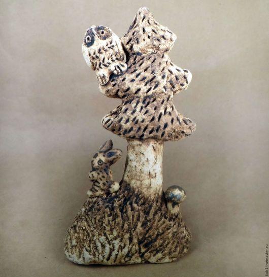Статуэтки ручной работы. Ярмарка Мастеров - ручная работа. Купить скульптура керамическая Сова и заяц. Handmade. Бежевый, полянка, сувенир