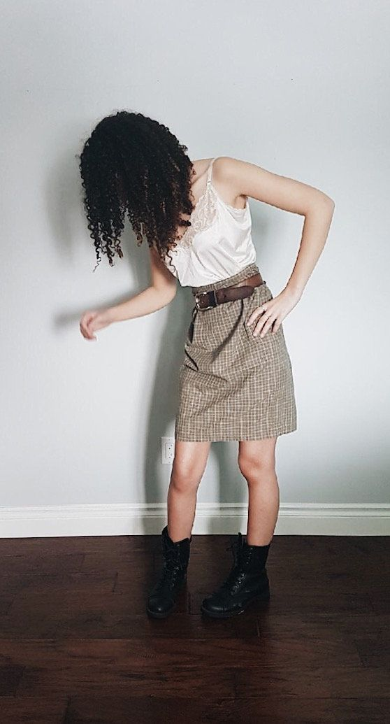 Vintage** Cotton Plaid High Waist Skirt by itsMagari on Etsy