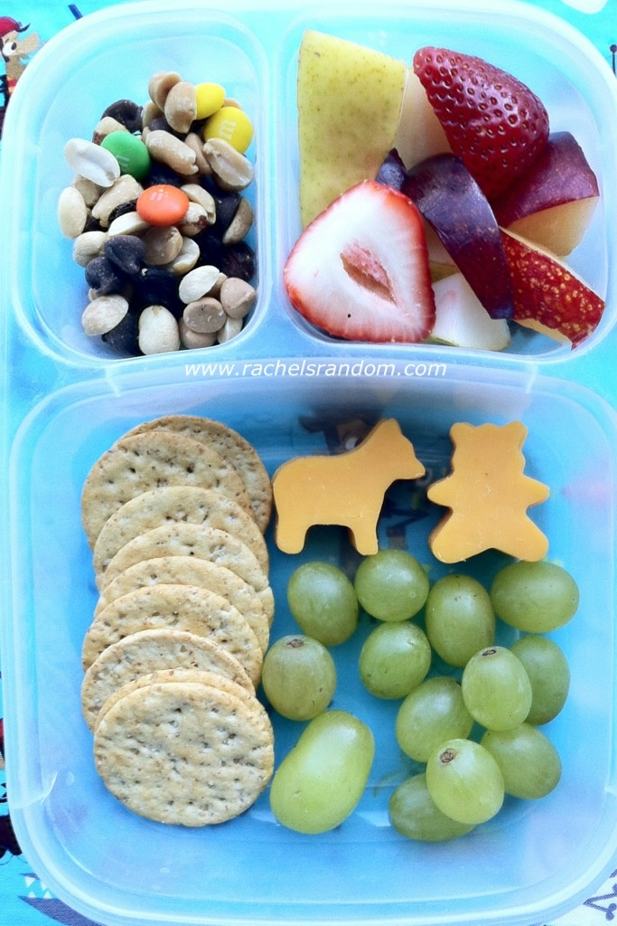 Crackers and animal shapes cheese with fruit and trailmix.