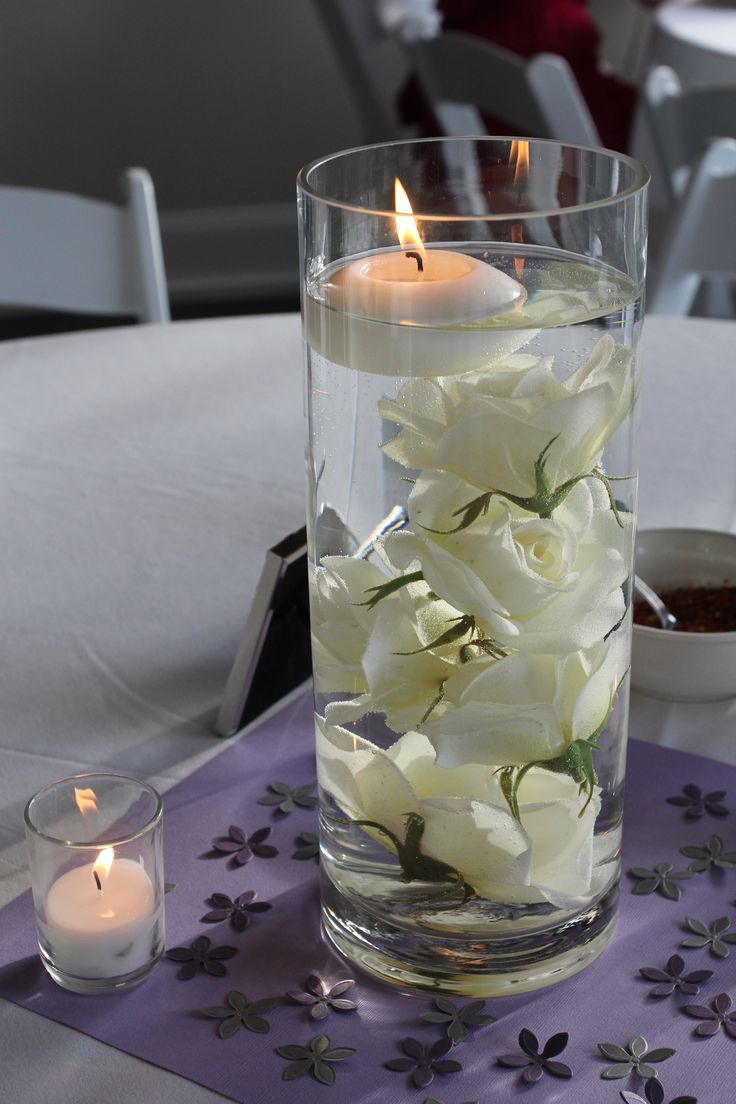 Submerged Rose Centerpieces With Floating Candle Floating