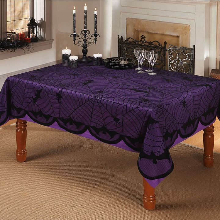 Bats And Spiders 60 Inch X 84 Inch Oblong Lace Tablecloth In Black   $19.99  | ♡ Dining ♡ | Pinterest | Bath