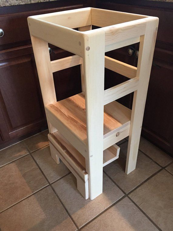 Magnificent Natural Pine Childrens Kitchen Play Safety Helper Step Beatyapartments Chair Design Images Beatyapartmentscom
