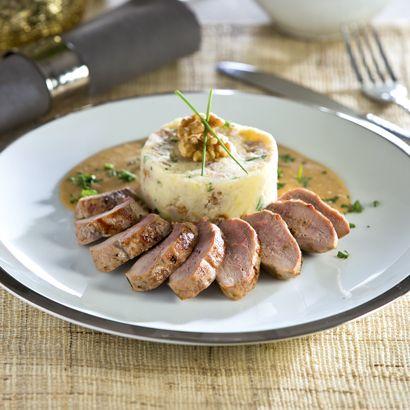 ALDI Belgique - Recette - Filet de faisan, sauce crème au cognac et purée aux noix