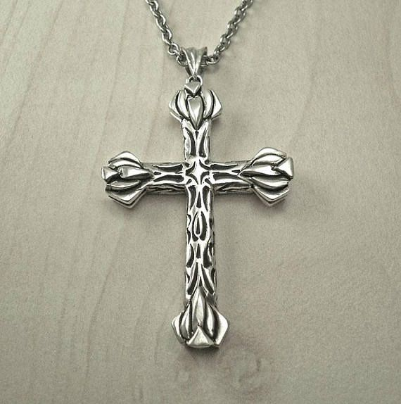 Silver cross necklacemens cross necklacemedieval cross