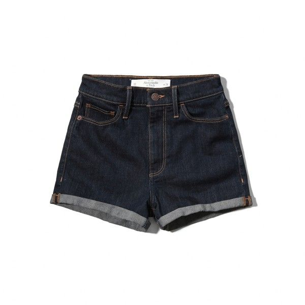 Abercrombie & Fitch Natural Waist Short-Shorts ($15) ❤ liked on Polyvore featuring shorts, jean shorts, rinse, cuffed shorts, cuffed denim shorts, hot shorts and hot cotton pants