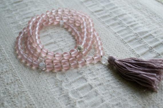 Pink Glass Mala Beads Yoga Mala Yoga Jewelry by Shanti Presence