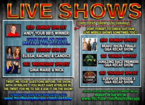 FOR YOU ALL WEEK! TOMORROW (SUNDAY) YOUR #BB15 #BigBrother Winner