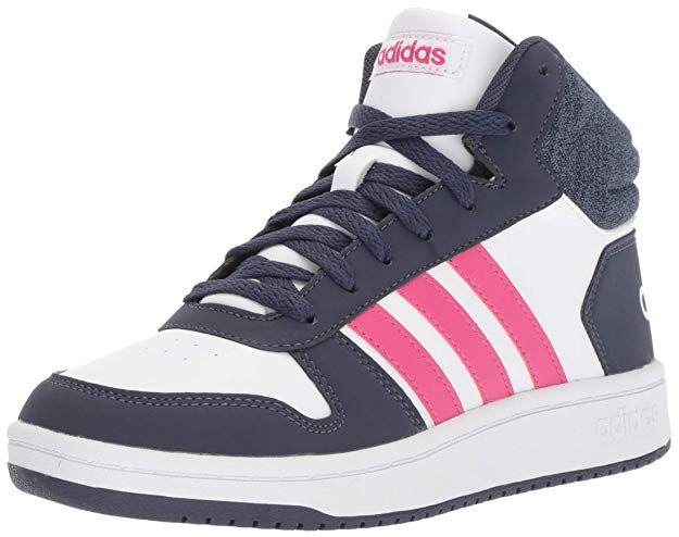pesadilla profundamente mecánico  adidas Kids' Hoops Mid 2.0 Basketball Shoe, White/Real Magenta/Trace Blue,  3.5 M US Big Kid | White basketball shoes, Adidas kids, Basketball shoes