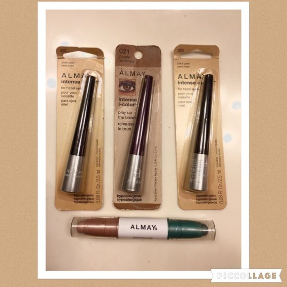 Almay Eyes 4 Piece Makeup Bundle Brand-new in original packages. Two black pearl hypoallergenic eyeliners, one purple amethyst hypoallergenic eyeliner and one dual color Eye color stick for brown eyes that has green and peachy tan color. Almay Makeup Eyeliner