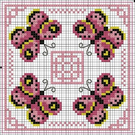 free cross stitch butterflies biscornu chart ... no color chart available, just use pattern chart as your color guide.. or choose your own colors...