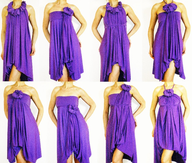 Purple Bridesmaids Dress- Wrap Infinity Multi - way dresses in purple jersey - more than 18 ways to wear, No.1. $60.00, via Etsy.