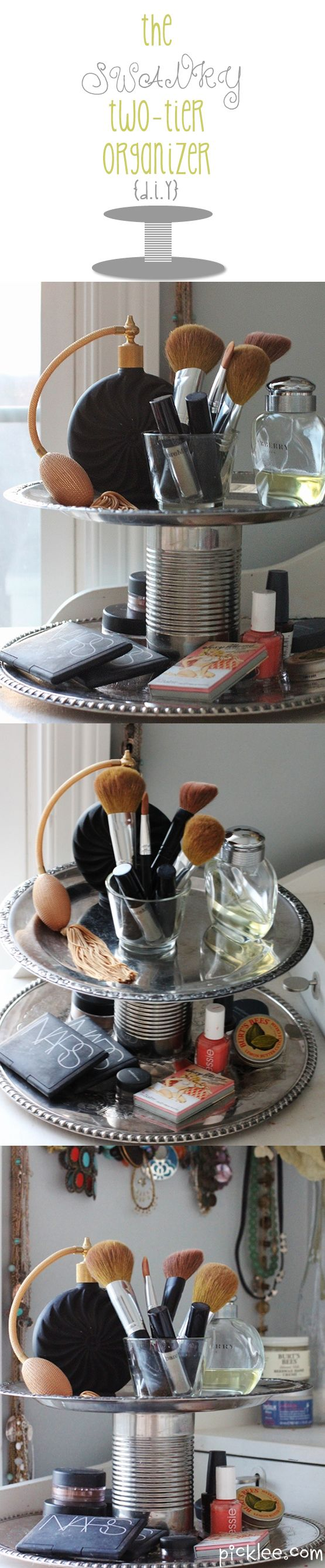 Fabulous Up-Cycled Cosmetic Organizer DIY... using a tin can and vintage plates!Sprays Painting, Vintage Plates, Fabulous Up Cycling, Makeup, Cake Stands, Up Cycling Cosmetics, Two Tiered, Organic Diy, Cosmetics Organic