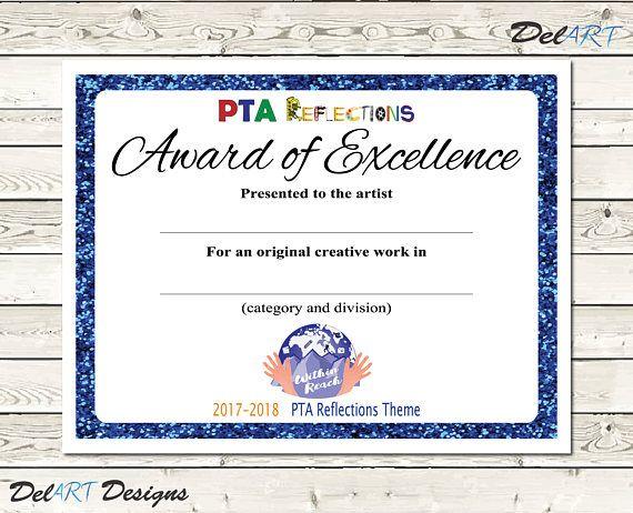 PTA Reflections Certificate 2017-2018 Digital Printable PDF