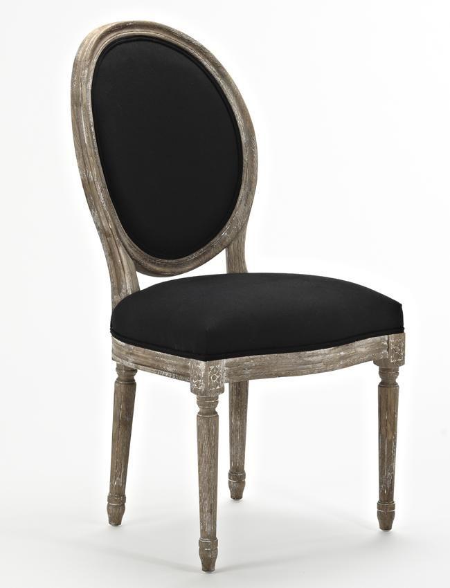 Chaise medaillon en ch ne coloris noir tek import www for Chaise medaillon moderne