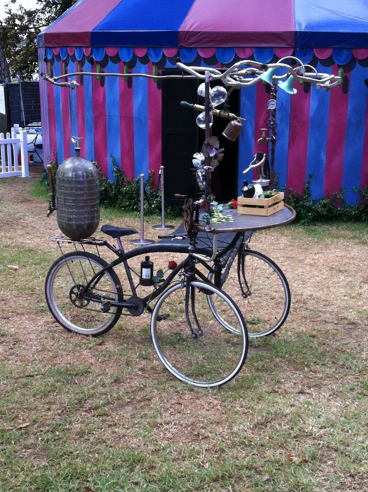 Tricycle contraption at a festival in Sydney's Domain 2015-03-15. Photo by Tim Deyzel. Follow https://www.pinterest.com/deyzel/group-bicycle-design-%2B-bicycle-style-max-2-pinsday/