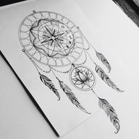 Dream catcher. My inspiration  #tattoo #dreamcatcher #lotus #compass #symbols