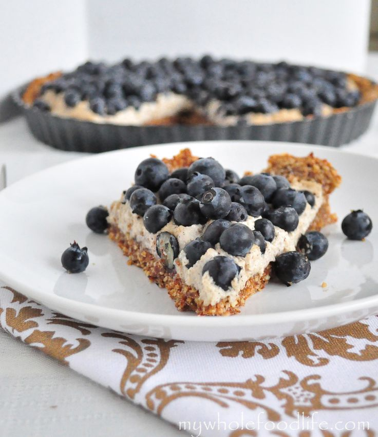 Grain Free Blueberry Tart.  NO refined sugars No flour and can be made very easily.