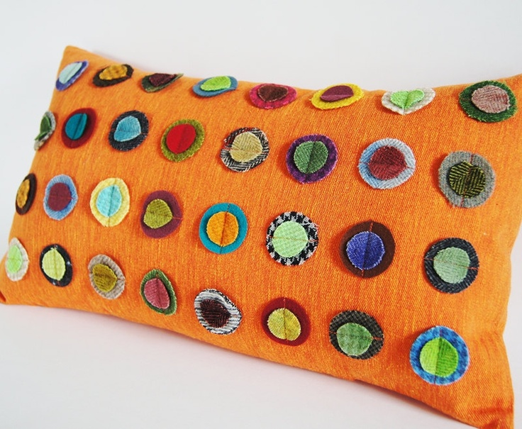 Best Colorful Wool Circles Vintage Orange Pillow Cover 12X20 400 x 300