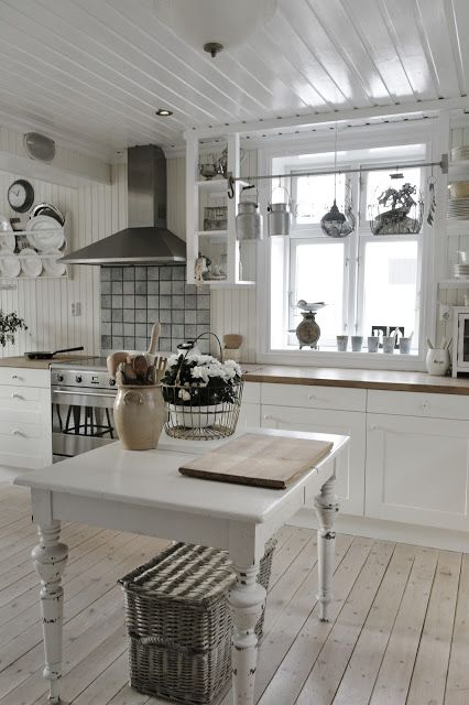 white cabinets but I love the warm touches with the wooden worktop and grey tiles