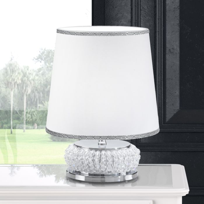 Contemporary Crystal Table Lamp With White Fabric Shade Italian
