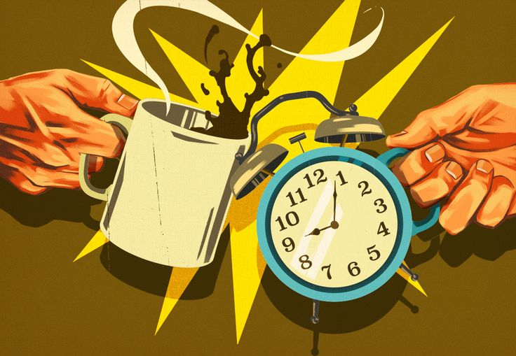 'Caffeine vs. Napping' - Illustration by Daniel Downey for Mental_Floss Magazine