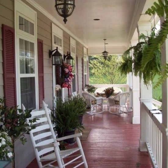 Brown With Red White Trim Country Front Porch Decorating