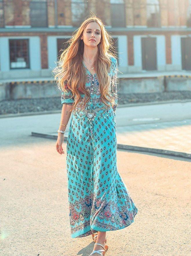 1d2ffa77bf4 Pretty Bohemia Floral V Neck Half Sleeve Front Split Maxi Dress in ...
